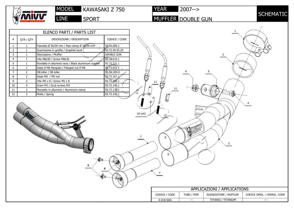 kawasaki z 750 bj 2007 07 zr750l auspuff mivv double gun. Black Bedroom Furniture Sets. Home Design Ideas