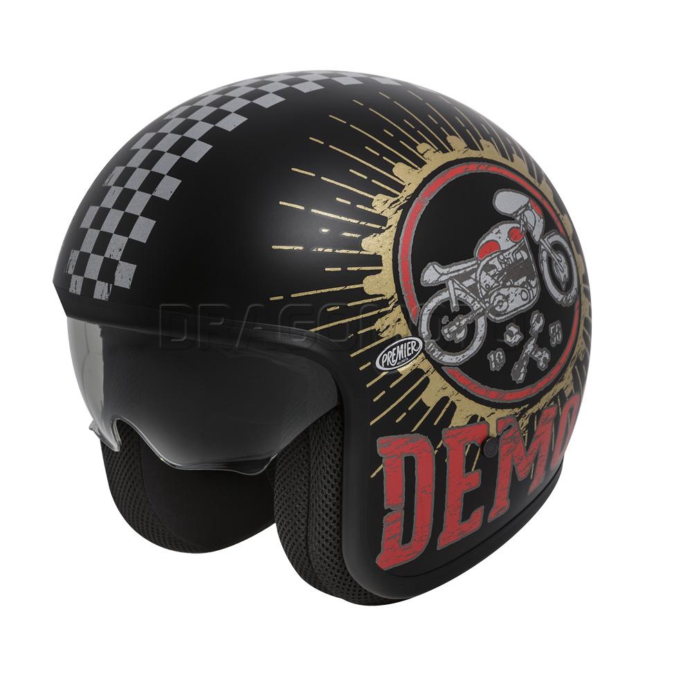 casque moto vintage speed demon 9 bm premier jet avec visi re ebay. Black Bedroom Furniture Sets. Home Design Ideas