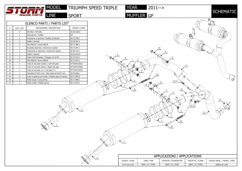 74.T.008.LXS Scarico Storm by Mivv Gp acciaio inox per Speed Triple 2008 08